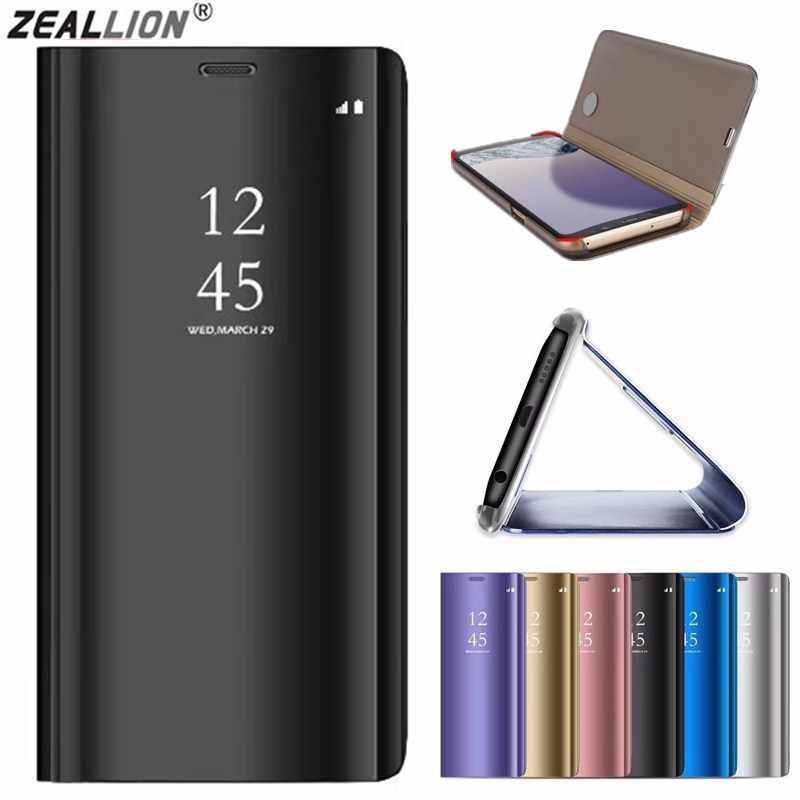 ZEALLION For Huawei P8 Lite 2017 P20 Plus Enjoy 7 8 Plus Y7 Prime Y9 2018 Clear View Mirror Window Leather Flip Stand Case Cover