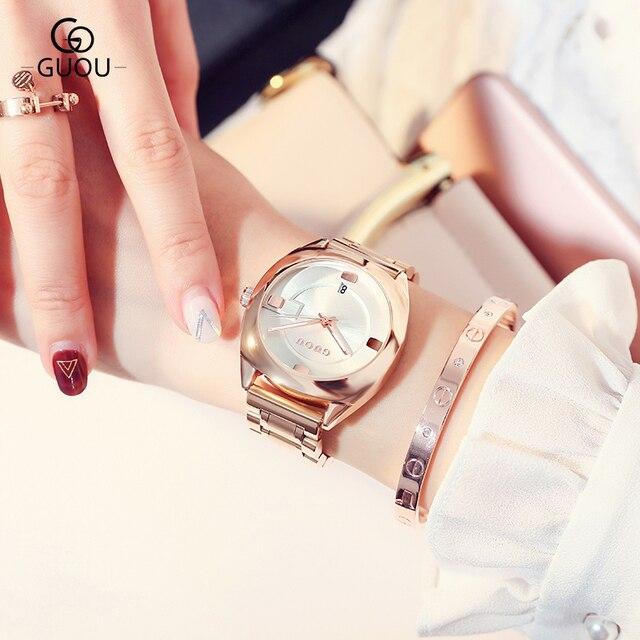 GUOU Vigilanza Delle Donne Top di Lusso Bracciale In Acciaio Data Auto Orologi Delle Donne di Modo Squisito Signore saat relogio feminino reloj mujer