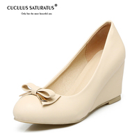 Cuculus Two types high heel shallow wedges shoes big size 34 43 women pumps sweet solid bowtie party shoes pu 1546