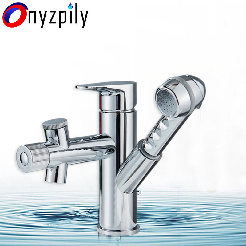 Chrome 3 Waterway Bathroom Faucet Pull Out Hot&Cold Water Mixer Tap Single Handle Sink Basin Faucet torneira para banheiro free shipping free shipping pull out faucet polished chrome bathroom faucet basin sink mixer tap torneira banheiro bf031