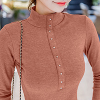 Good Quality Cotton Tops Woman Shirt Skinny Semi Turtleneck T Slim Female Long Sleeve Winter All