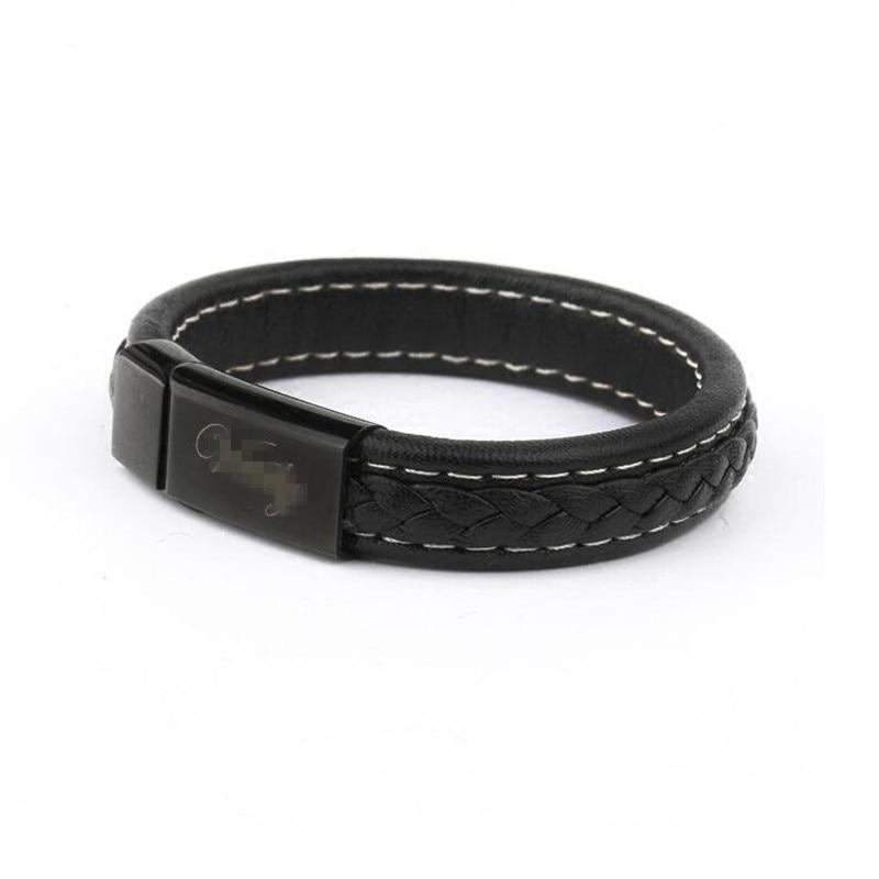 Marque Noir Véritable En Cuir Charme Bracelet Hommes Lettre Acier Inoxydable Wrap Bracelet Bracelets Manchette Bracelet Punk Rock Hommes Bijoux