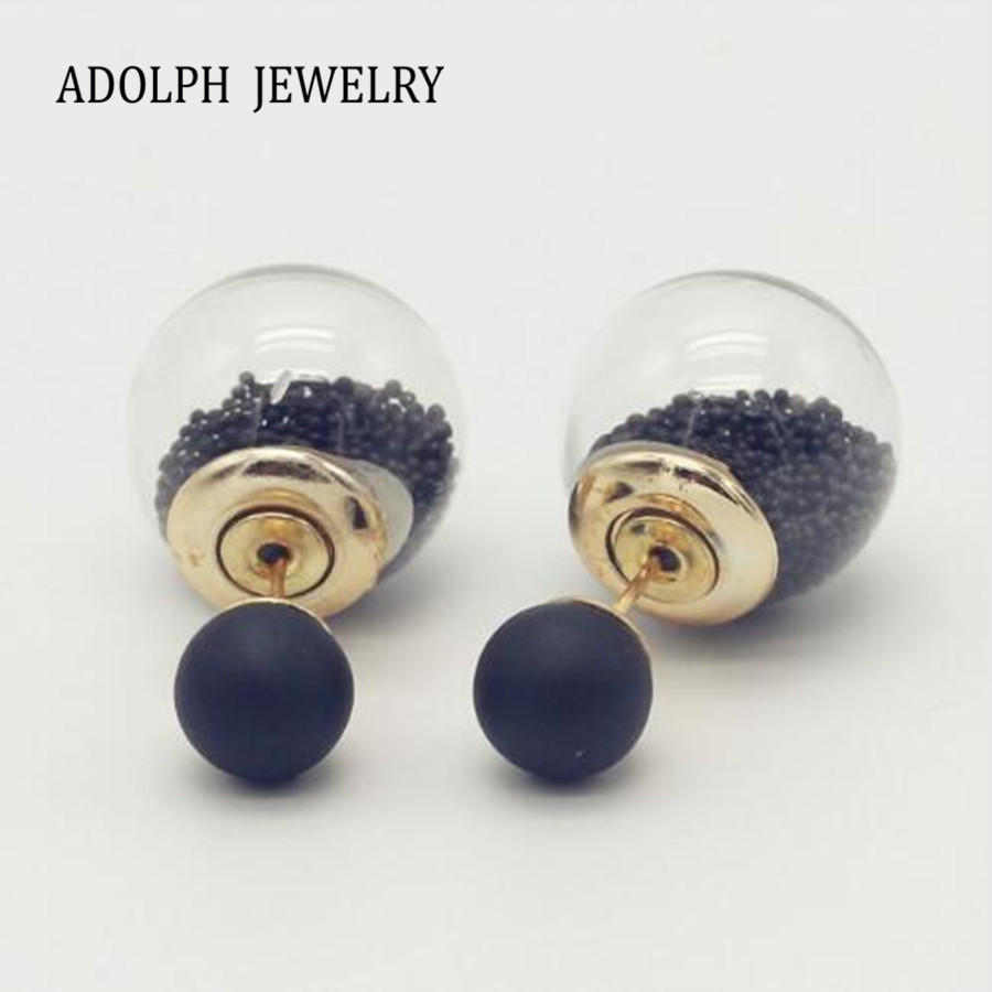 ADOLPH Jewelry 12 Colors Wholesale Fashion Double Side Square Stud Earrings For Women New Beads Glass Earring Hot SALE