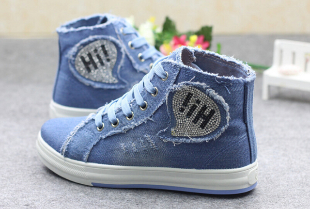 2016 new denim high-top shoes Rhinestone casual shoes High quality Korean version of canvas shoes