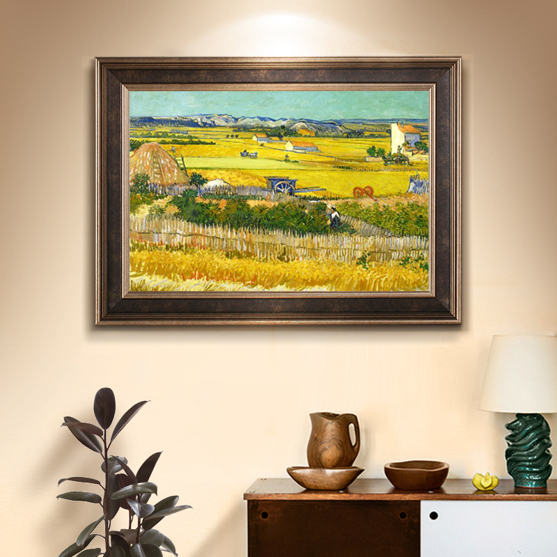 Needlework,DIY Cross Stitch,Sets For Embroidery Kits Van Gogh Classic Village Harvest Printed Pattern Cross-Stitch Painting Gift