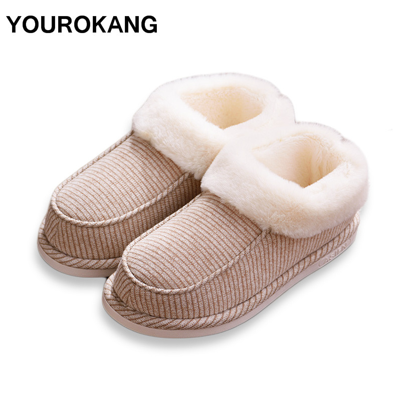 YOUROKANG Winter Men Shoes Warm Home Slippers Striped Indoor Floor Furry Cotton Couple House Women Unisex Soft Antiskid
