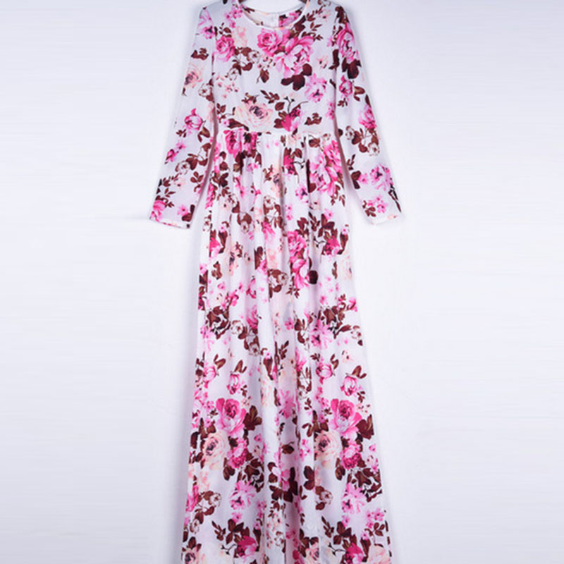 e21504b88247 New Autumn Women Maxi Dress Long Sleeve O neck Red Vintage Flower Print  Party Summer Long Dress Casual vestido longo Large size-in Dresses from  Women's ...