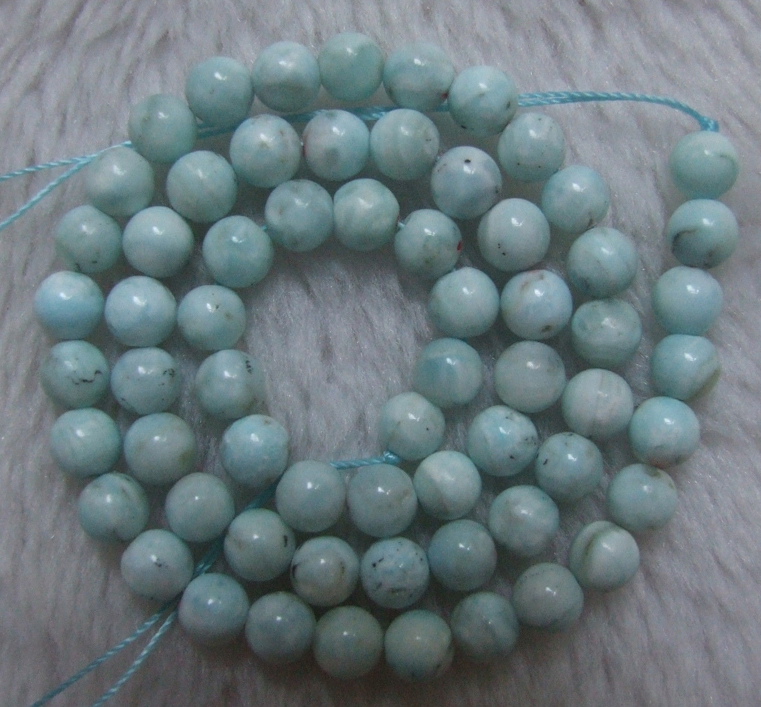 """8MM WHITE GREEN OPAL GEMSTONE GRADE A ROUND LOOSE BEADS 15.5/"""""""