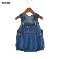 2017 Baby Bodysuits Boys Girls Denim One Piece Infant Girls Jumpsuits Sleeveless Jeans Blue Kids Bodysuit