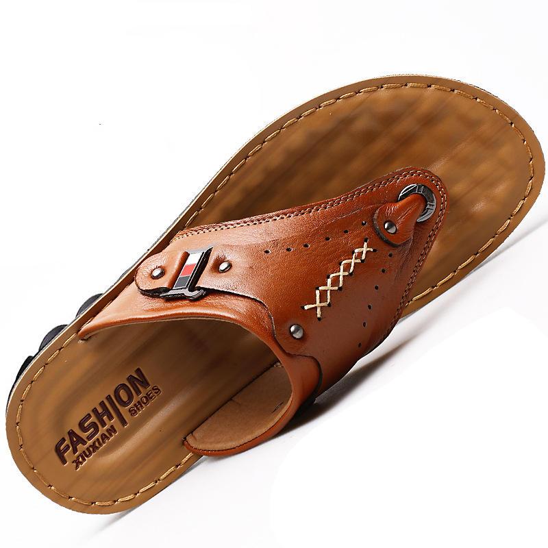 3 Color Men's Genuine Leather Sandals 2020 Summer Flip Flops Men High Quality Genuine Leather Sandals Size 39 40 41 42 43 44