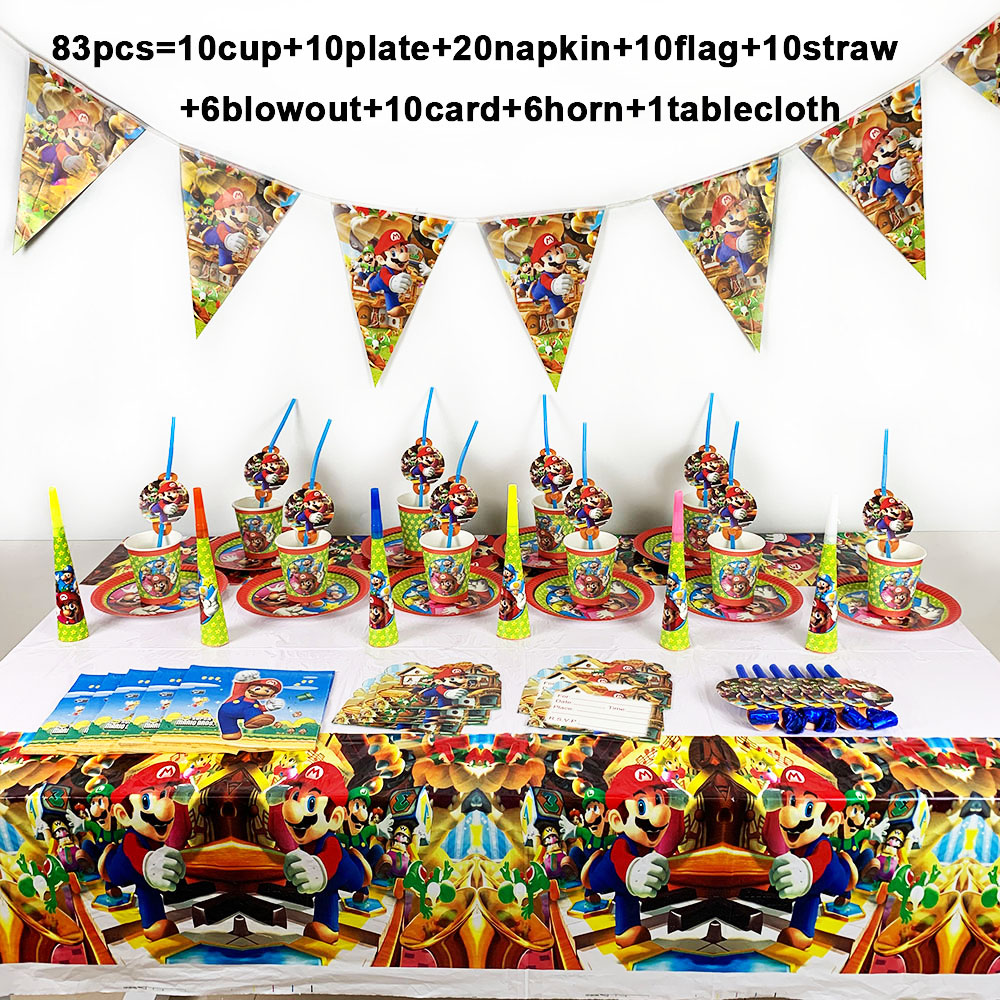 Mario Bros Party Disposable Tableware Disposable Set Paper Plate Napkin Cup Invitation Card Super Mario Party Supplies 83PCS/LOTMario Bros Party Disposable Tableware Disposable Set Paper Plate Napkin Cup Invitation Card Super Mario Party Supplies 83PCS/LOT
