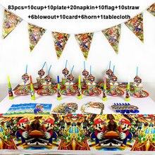 Вечерние одноразовые салфетки Mario Bros, набор одноразовых столовых приборов, бумажная тарелка, чашка, пригласительная карта, вечерние принадлежности Super Mario 83 шт./лот