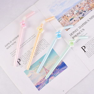 Image 2 - 48 pcs Gel Pens Kawai Cartoon Cool drinking straw black colored gel ink pens for writing Cute stationery office school supplies