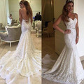 Gorgeous Berta Bridal Mermaid Wedding Dresses 2016 Sexy Backless Bridal Gowns Spaghetti Straps Full Lace Vestidos de Noivas