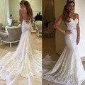 Lindo Nupcial Berta Sereia Vestidos de Casamento 2016 Sexy Backless Vestidos de Noiva Spaghetti Cheia Do Laço Vestidos de Noivas