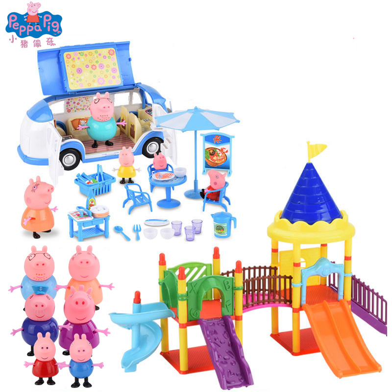 Peppa Pig Toys Peppa House Peppa's Red Car Peppa's School Bus Playground Ferris Wheel Train Geroge Kids Toy Birthday Gift