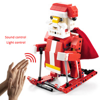 439pcs Legoing Christmas Series Building Blocks 2 IN 1 Transform Santa Claus Snowmobile Friends Model Bricks Sound Induction Toy