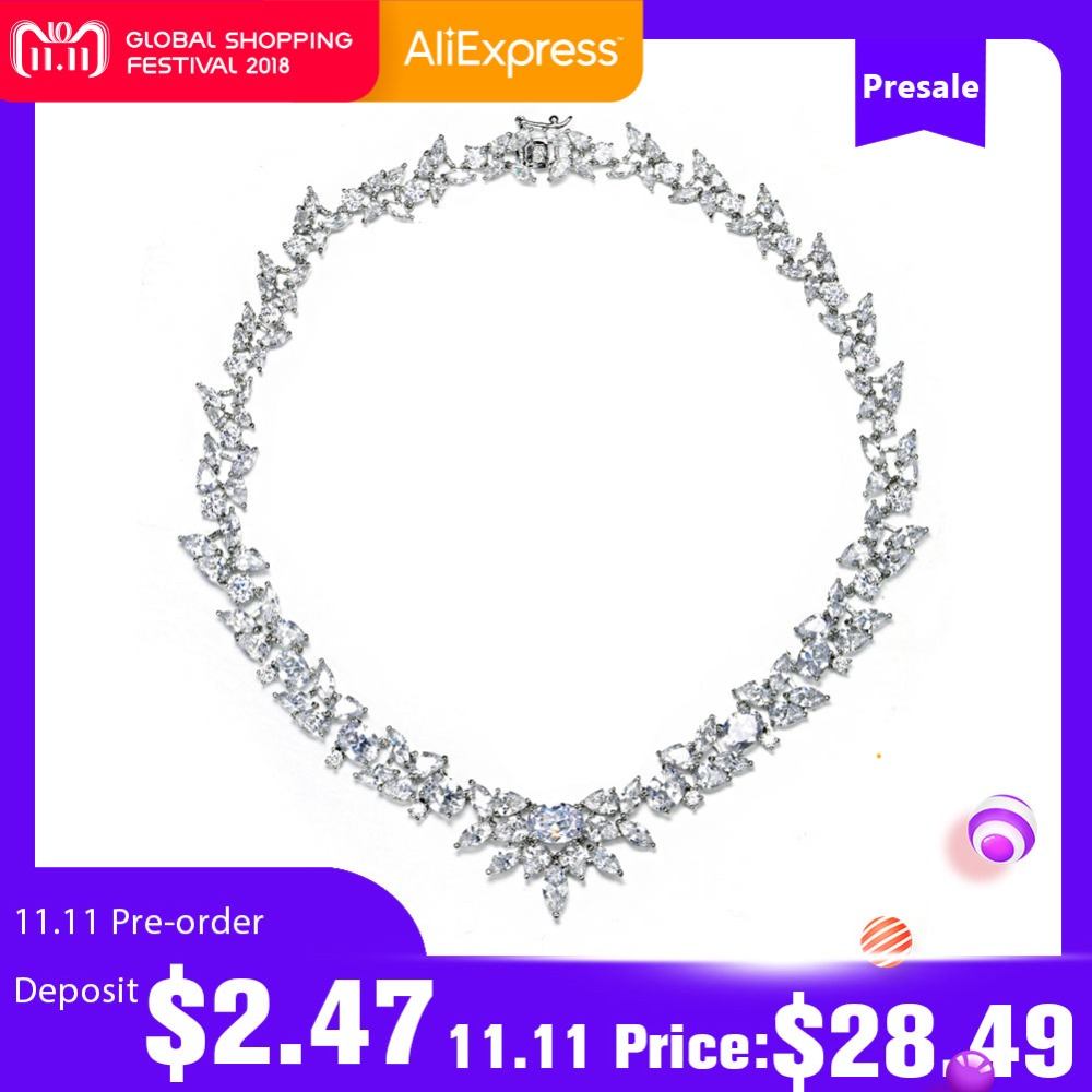 UMODE Gorgeous White Gold Color Poem of Spring Top quality Cubic Zirconia Bridal Jewelry Necklace Bijoux Accessories UN0027 poem