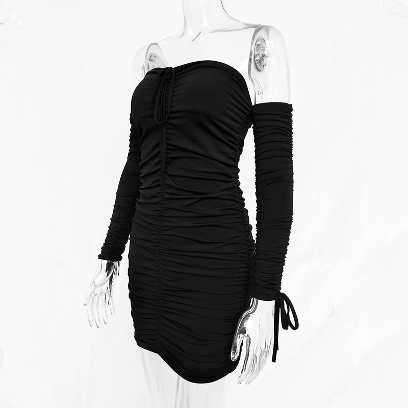 Autumn Winter Bandage Dress Women Sexy Off Shoulder Long Sleeve Slim Elastic Bodycon Party Dresses 34