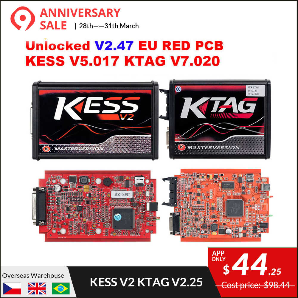 KESS V2 Master KessV2 V2 47 V2 23 V5 017 EU Red PCB No Token Limit ECU  Programer Tool KESS Ktag Tuning Kit For Car/Tractor/TRUCK