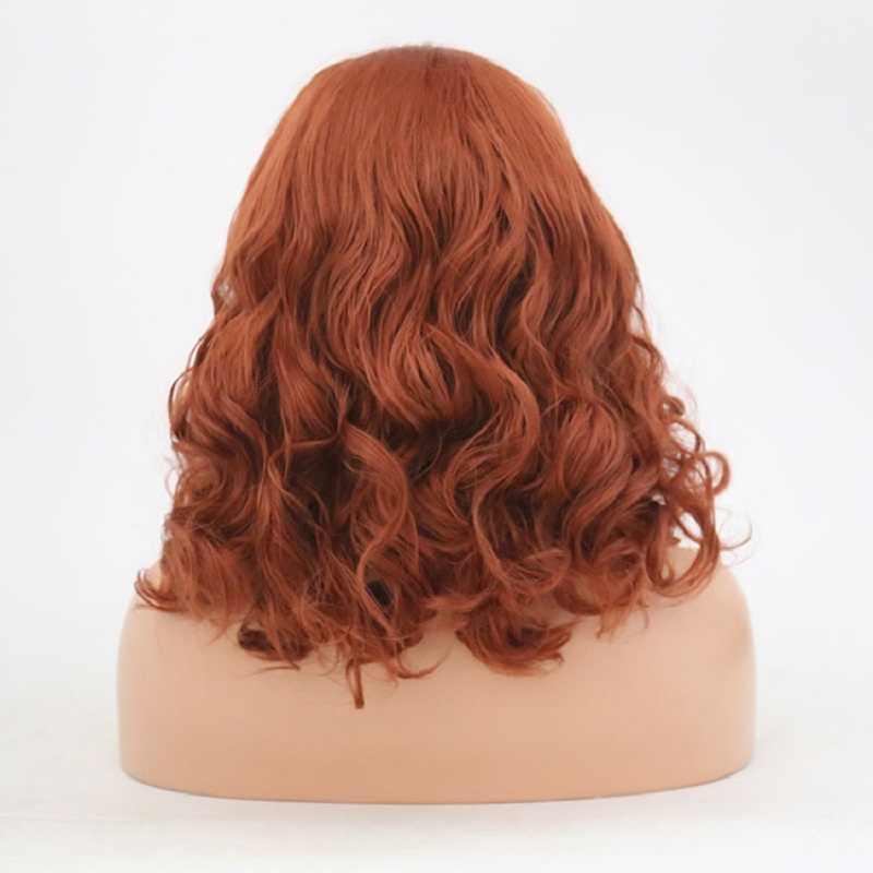 Харизма 14 дюймов оранжевые синтетические волосы натуральные волосы фронтальная кружевная лента парики без клея для женщин 150% Плотность