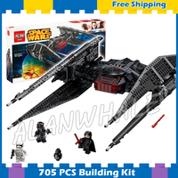 705pcs Space Wars Kylo Ren S Tie Fighter First Order Starship 05127 Model Building Blocks Gifts