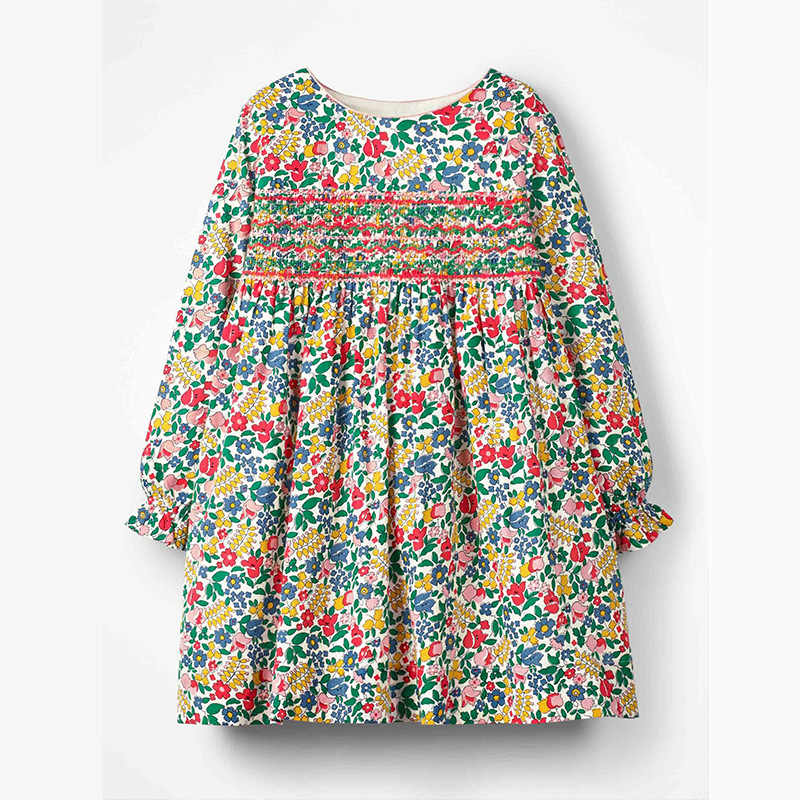Little maven kids girls fashion brand autumn baby girls clothes draped dress Cotton flower print toddler girl dresses S0517