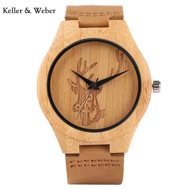 Aliexpress.com   Buy KW Creative Elk Deer Head Wood Watch Leather Strap  Men s Quartz Wrist Watch Vintage Style Clock Gift relogio masculino from  Reliable ... 886f908f5a