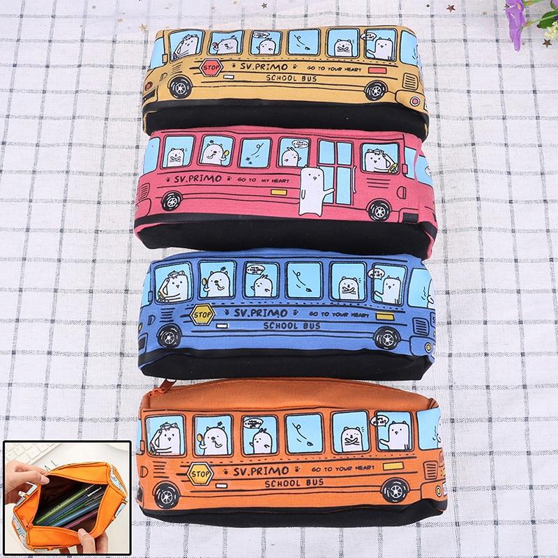 Pencil Pen Case Kids Creative Bus Multifunction Box School Storage Bag Holder