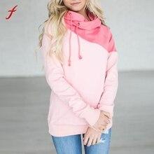 Harajuku Women Sweatshirt Green Pink Color Block Raglan Hoodie Sweatshirt Long Sleeve bts Hoodie Spring/Autumn Outside Pullover