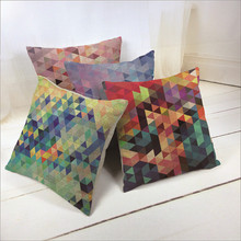 Linen Decorative Throw Pillow Covers Colorful modern Geometric Diamond Pattern Sofa Seat Cheap Cushion Covers nordic decoration
