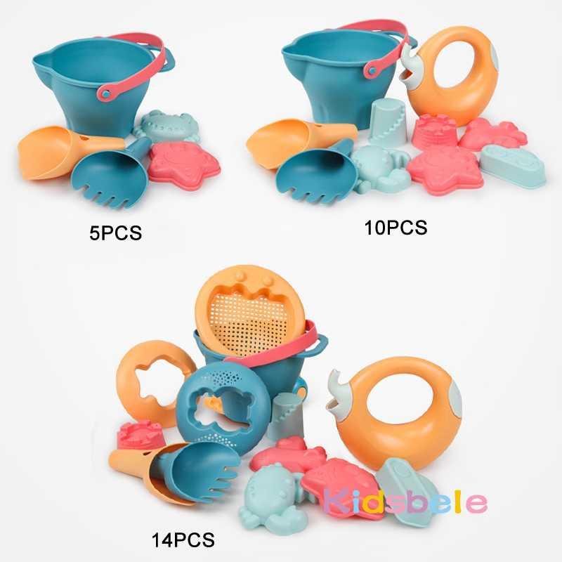 Weiche Kunststoff Strand Spielzeug Schaufeln Sandkasten Eimer Set Sommer Wasser Spielzeug Für Sand Kinder Strand Spielzeug Tiere Formen Hohe Qualität 2019