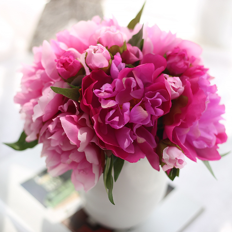 Silk Flower Artificial Peony Flowers Purple red Bridal Bouquet Fake Leaf For Wedding Home Party Decoration 6 Branches