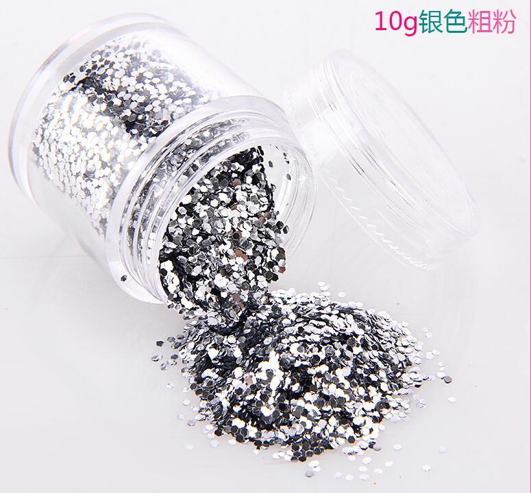 Nails Art & Werkzeuge # Jjkl211444 Praktisch 10 Ml/box Silber 1 Mm Hexagon Streusel Gemischt Größe Diy Glitter Für Nagel Dekoration & Papier Handwerk Glitter Lieferant