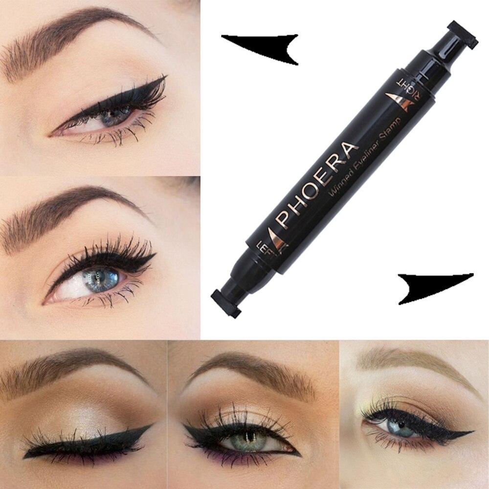 PHOERA Eye Makeup Liquid Eyeliner Pen Make Up Waterproof Black Double-ended Makeup Stamp Eyeliner Pencil Beauty Cosmetic TSLM2