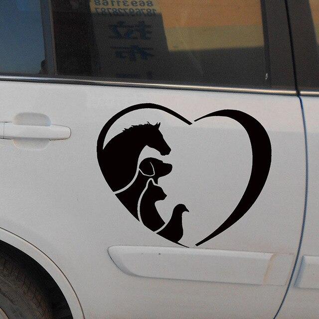 Us 733 30 Off50 Cm X 50 Cm Tier Liebhaber Liebe Herz Aufkleber Pferd Katze Hund Tierarzt Auto Aufkleber Für Autos Seite Lkw Fenster Tür Vinyl