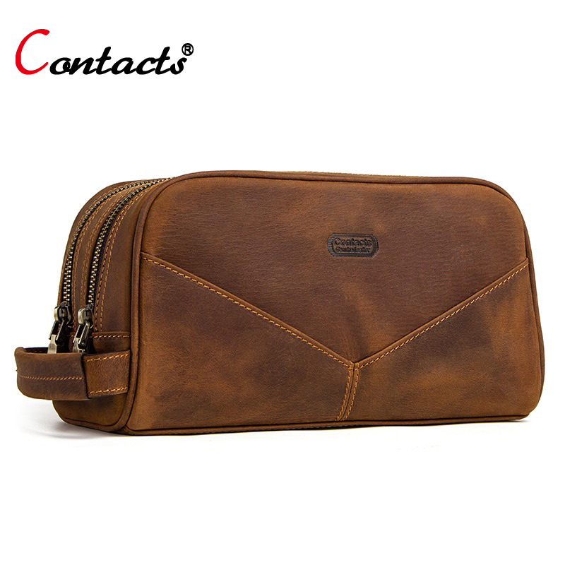 CONTACT S genuine leather cosmetic bag for men crazy horse leather man make up bags small
