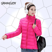 SAMMEJOY Newest 2016 Cotton Women Coat High Quality Short Cheap Solid Color Regular Zipper Thin Winter Jacket Women Coat 15808