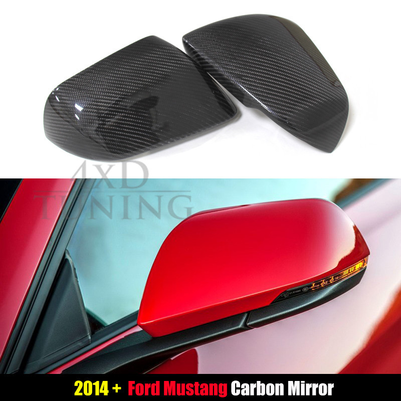 For Ford Mustang America Model Carbon Fiber Rear View Side Mirror Cover with Tuning Single Light Add on style 2014 2015 2016 for cadillac ats full add on style carbon fiber mirror covers 2014 2015