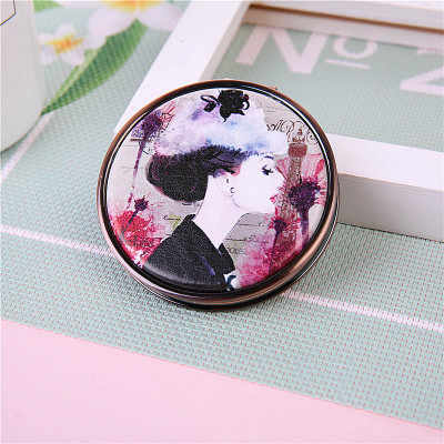 1 Piece Vintage Portable Mini Pocket Makeup Mirror Double Side Round Folding Make Up Cosmetic Mirror Random Pattern