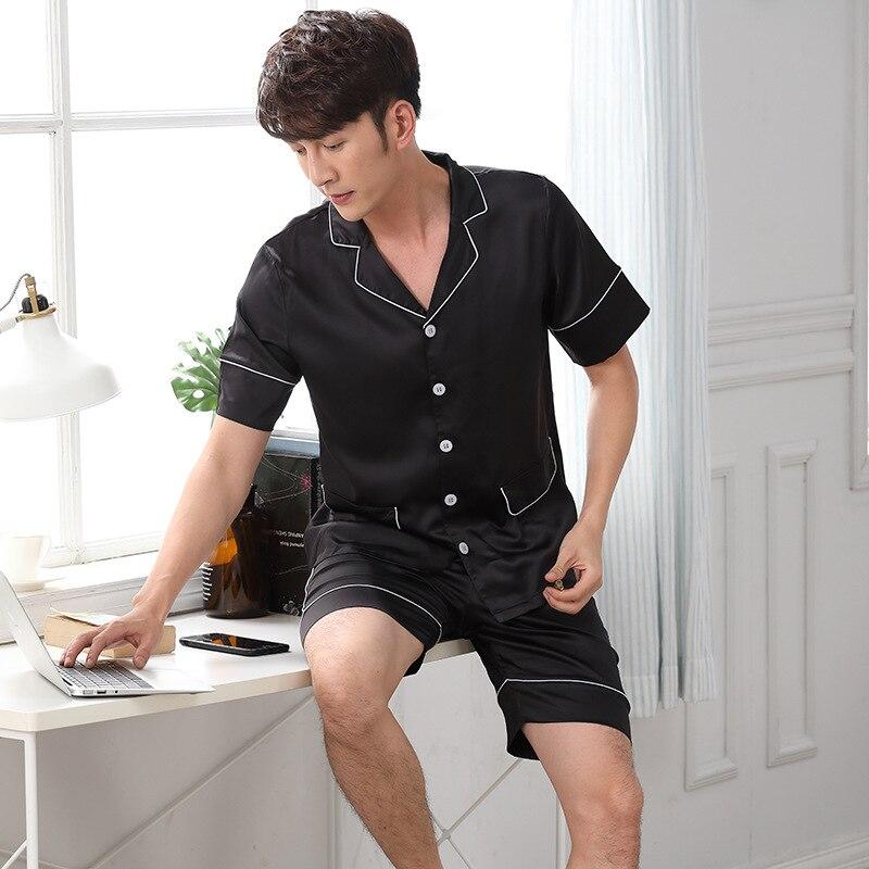 02df7bfae8cf Summer satins silk mens short pajamas sets denim blue short sleeve mens  pyjamas set male shorts homewear clothing pijama hombre-in Men s Pajama Sets  from ...