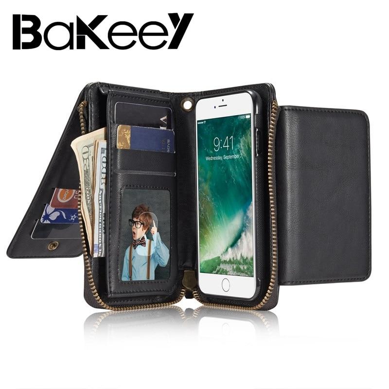 Bakeey для iphone 7/8 Чехол Магнитный искусственная кожа Слот для карты держатель стенд чехол Fundas съемный на молнии бумажник кронштейн случае
