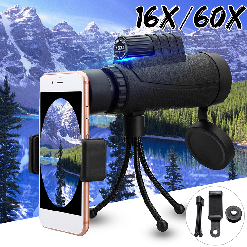 Telescope - 40X60 Zoom Optical HD Lens Monocular Telescope + Clip For Universal Phone HD Night Vision with Phone Clip and Tripod