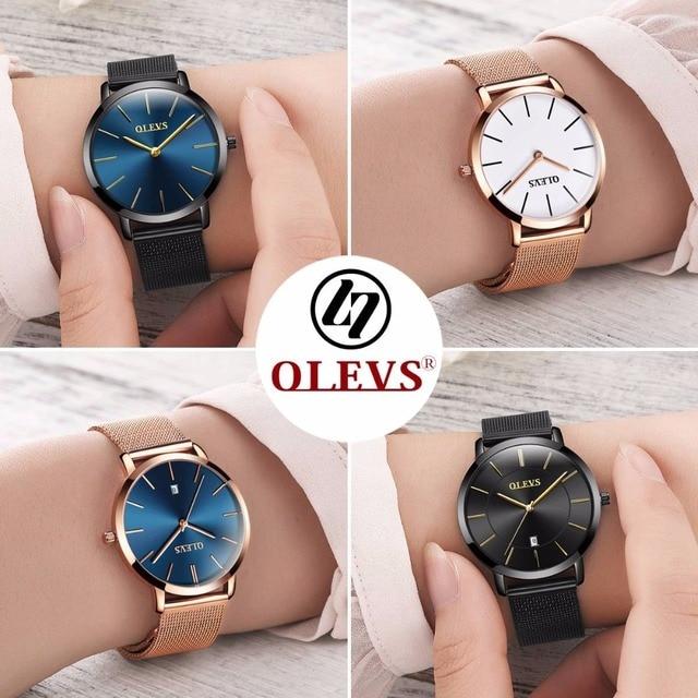 Ultra thin Ladies Watch Waterproof Rose Gold Stainless Steel Quartz Calendar Wrist Watch 10