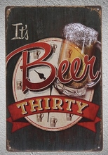 1 pc Beer Time drink bar its beer thirsty  Tin Plate Sign wall man cave Decoration Man Art Poster metal vintage