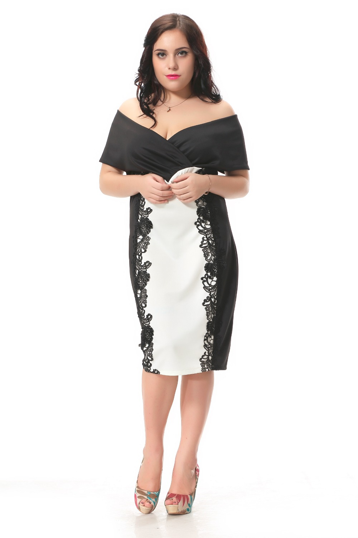 Plus Size Party Dresses Sexy Slash Neck Club Dress With -1732