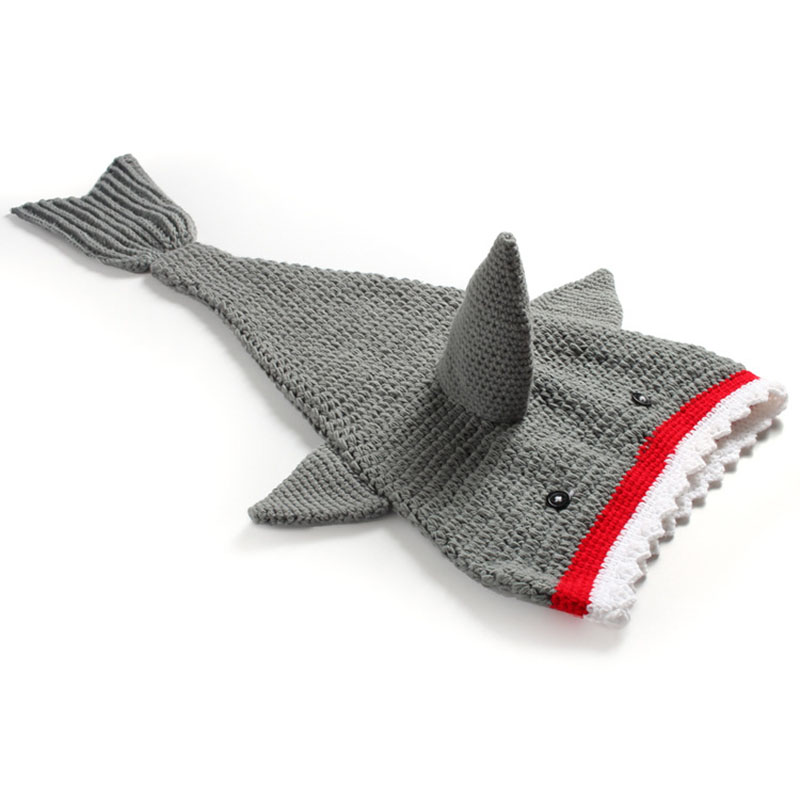 Newborn Photography Props Shark Tail Blanket Cocoon Baby Toddler Handmade Crochet Photo Prop Animal Costume Knit Winter Clothes cute newborn baby girls boys crochet knit costume photo photography prop outfit one size baby bodysuit hat 2pcs