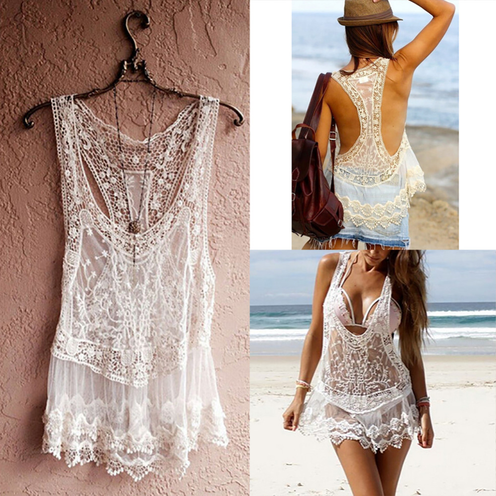 White Beige Sexy Women Bikini Beach Cover Up Front Open Floral Lace Beach Wear Bathing Suit Cover Ups Beach Dress Swimwear outfits para playa mujer 2019