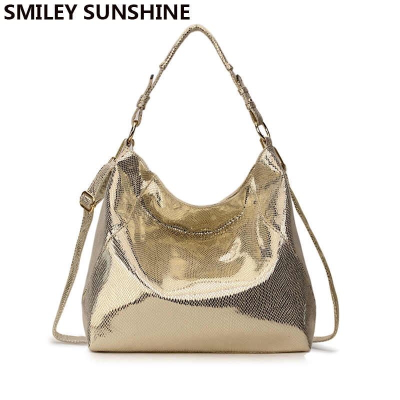 SMILEY SUNSHINE Women's Leather Handbag Hobo Messenger Bag for Women 2018 Gold Crossbody Shoulder Bag Female Tote Ladies Big Bag