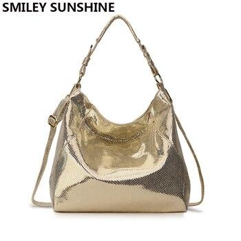 SMILEY LUCE DEL SOLE delle Donne di Cuoio Della Borsa Hobo Messenger Bag per le Donne 2018 Oro Crossbody del Sacchetto di Spalla Femminile Tote Delle Signore Grande borsa